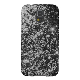 COLD BLACK STEEL WHITE SPARKLE GLITTER BACKGROUND GALAXY S5 CASES