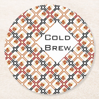 Cold Brew Coffee Cup Brown Red Black Mugs Java Round Paper Coaster
