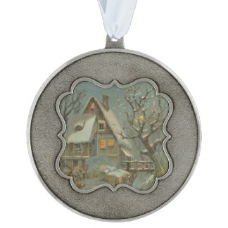 Cold Christmas Night Scalloped Pewter Ornament