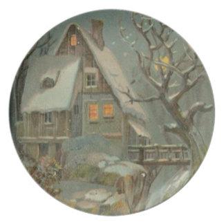 Cold Christmas Night Plate
