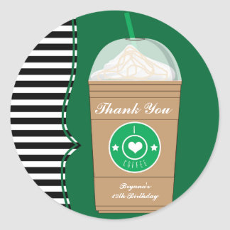 Cold Coffee Frap Birthday Party Favor Stickers