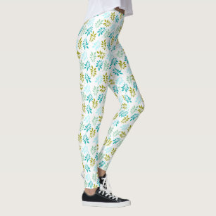 94a943c2fe Cold Colored Fern Leaves Pattern Leggings