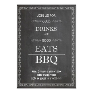 Cold Drinks Good Eats Chalkboard Labor Day 3.5x5 Paper Invitation Card