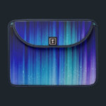 "Cold Fire - Blue Teal Purple Streaks Pattern MacBook Pro Sleeve<br><div class=""desc"">Streaked lines in blue,  teal,  and purple with digital confetti sprinkled over top on a black background. Design &#169; Shannon Workman</div>"