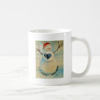 Cold hands, warm heart, snowman coffee mug