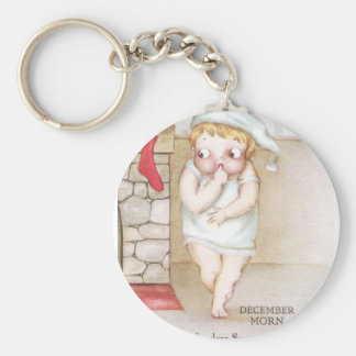 Cold Kid Waiting for Santa Claus Vintage Christmas Basic Round Button Keychain