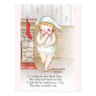 Cold Kid Waiting for Santa Claus Vintage Christmas Postcards