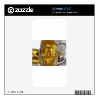 Cold mug of light beer on the table at a restauran decal for the iPhone 4