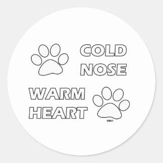 Cold Nose Warm Heart Classic Round Sticker