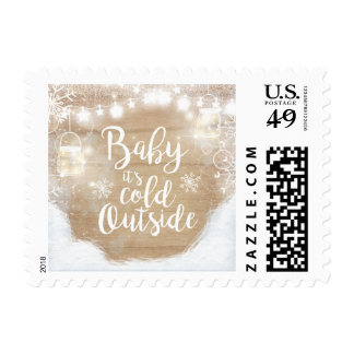 Cold outside Postage Stamps Snowflakes Winter Baby