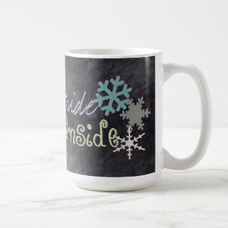 Cold Outside, Warm inside Snowflake Chalkboard Mug