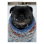 Cold Puggy in the Snow Birthday Greeting Card