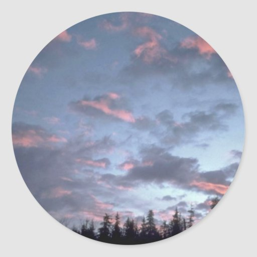 Cold Sky Over Trees Round Stickers