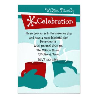 "Cold Snow Warm Mittens 3.5"" X 5"" Invitation Card"