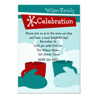 Cold Snow Warm Mittens Custom Invite