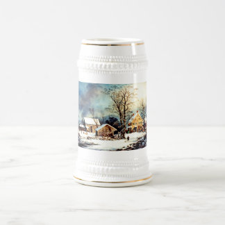 Cold snowy morning 18 oz beer stein