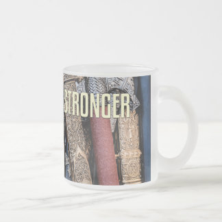 Cold steel arms frosted glass coffee mug