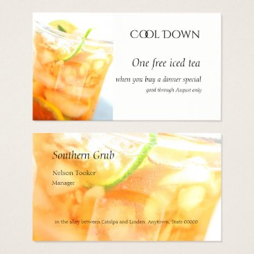 Professional Business Cold tea with citrus slices business card