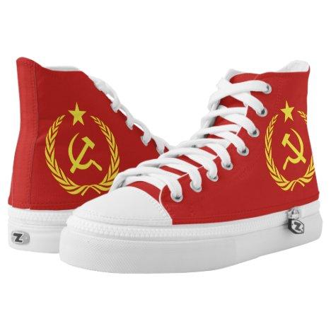 Cold War Communist Flag High Tops