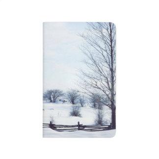 Cold Winter Day Bare Tree Split Rail Landscape Journal