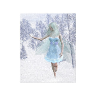 Cold Winter Fairy Catching Snowflakes Canvas Print