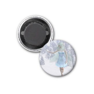 Cold Winter Fairy Catching Snowflakes 1 Inch Round Magnet