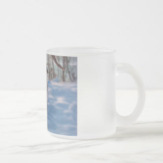 cold winter icicles after first snow storm frosted glass coffee mug