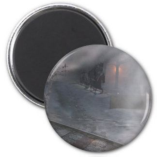 Cold Winter Night 2 Inch Round Magnet