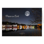 Cold Winter Night Boathouse Row Peace on Earth Greeting Card