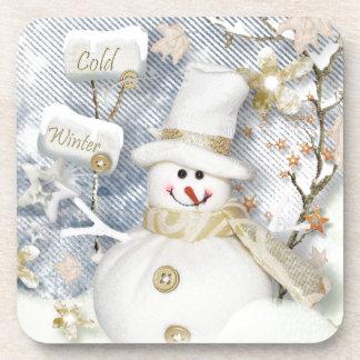 Cold Winter Snowman Beverage Coaster