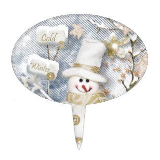 Cold Winter Snowman Cake Topper