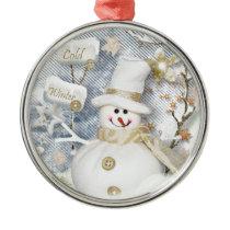Cold Winter Snowman Metal Ornament