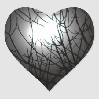 Cold winters night through the tree top heart sticker