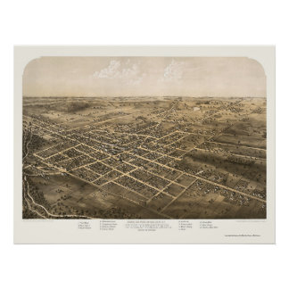 Coldwater, MI Panoramic Map - 1868 Poster