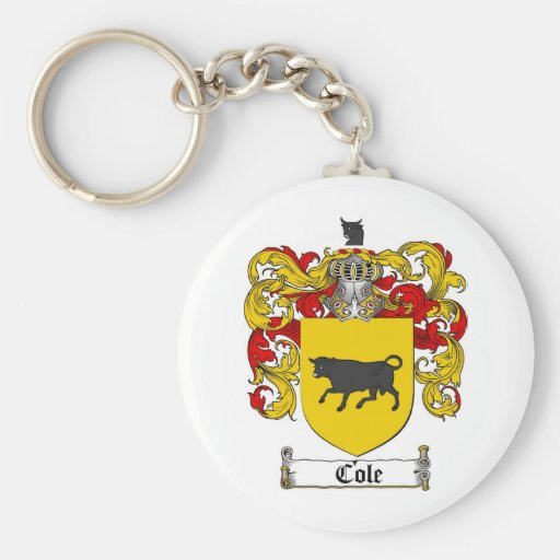 COLE FAMILY CREST -  COLE COAT OF ARMS BASIC ROUND BUTTON KEYCHAIN