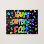 "[ Thumbnail: ""Cole"" First Name, Fun ""Happy Birthday"" Jigsaw Puzzle ]"
