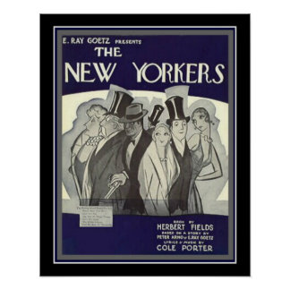 "Cole Porter Art Deco ""New Yorkers"" Print 16 x 20"