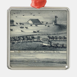 Cole Ranches Square Metal Christmas Ornament