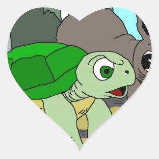 Colección 1 de The Tortoise and The Hare Pegatina Corazón Personalizadas