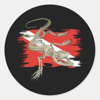 Colección alfa de los buceadores de la bandera etiqueta redonda