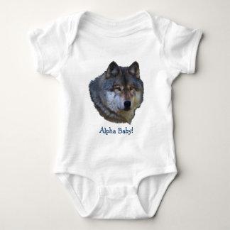 Colección alfa del lobo gris body para bebé