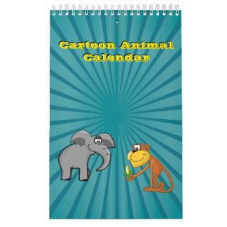 Colección animal del ejemplo del dibujo animado calendario de pared