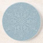 Colección azul del nudo del copo de nieve posavasos personalizados
