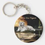 Colección blanca rara del tigre del gato grande llavero redondo tipo pin