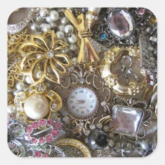 colección bling bling de la joyería calcomanías cuadradas personalizadas