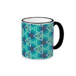 Colección bonita del modelo de la tela - aguamarin taza de café