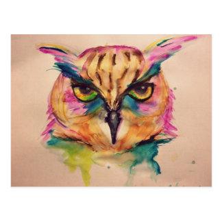 Coleccion buho watercolor diseño exclusivo y unico tarjeta postal