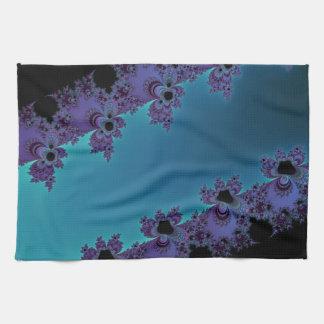Colección ciánica púrpura elegante del fractal toallas de cocina
