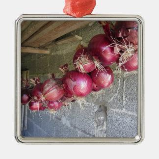Colección colgante de la cebolla roja adorno navideño cuadrado de metal