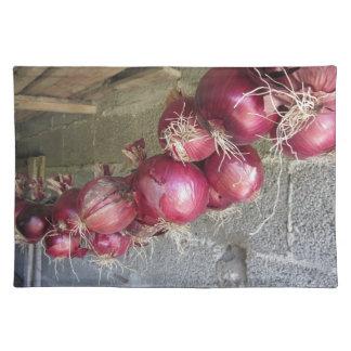 Colección colgante de la cebolla roja manteles